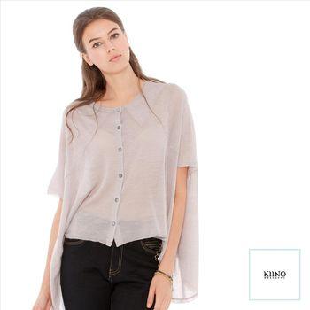 【KIINO】暖春舒適苧麻排扣短版上衣 0861-1890