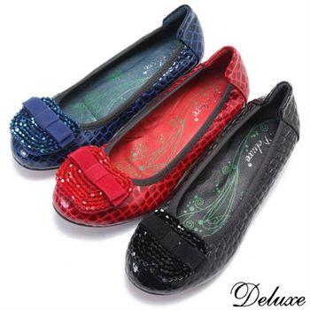 【Deluxe】全真皮串珠蘋果蝴蝶結鱷魚紋小坡跟娃娃鞋(黑☆藍☆紅)-1162-5