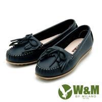【W&M】可水洗舒適真皮平底莫卡辛鞋-藍