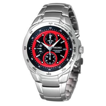 SEIKO 極限快感三眼計時腕錶 黑x紅 7T92-0HE0R