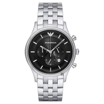 Emporio Armani Dress 亞曼尼三眼計時腕錶 黑x銀 43mm AR11017