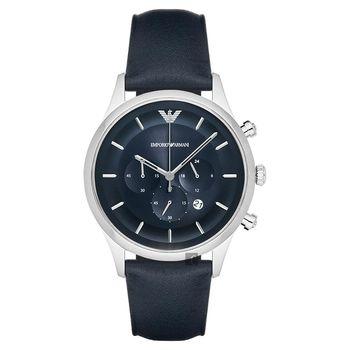 Emporio Armani Dress 亞曼尼三眼計時腕錶 藍 43mm AR11018