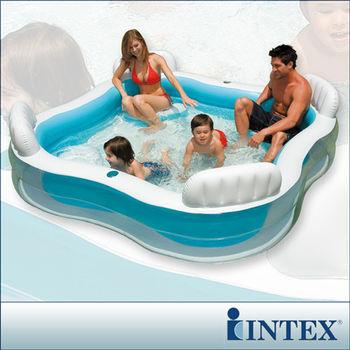 【INTEX】方型有靠墊透明戲水游泳池(229*229cm)(882L)