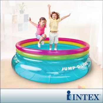 【INTEX】兒童圓形三色透明跳跳床-寬203cm(48267NP)