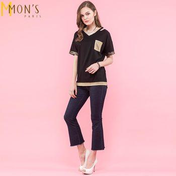 MONS背心肩帶造型金屬V領棉麻上衣(CA7019)