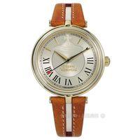 Vivienne Westwood / VV168GYTN / 唯美璀璨之星真皮手錶 金框x咖啡 35mm