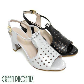 【GREEN PHOENIX】雷射孔洞串珠水鑽繞踝全真皮粗高跟涼鞋-灰色、黑色