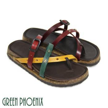 【GREEN PHOENIX】復刻三色仿舊釘扣裝飾皮扣全真皮平底夾腳拖鞋-紅色、五彩