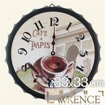 【羅蘭絲相框】咖啡午後酒瓶蓋鐵質復古時鐘 鄉村歐美 壁掛掛鐘 居家佈置 裝飾畫 民宿 咖啡廳
