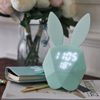 咪兔 聲控鬧鐘 夜燈 時鐘 智能聲控 貪睡鬧鐘 LED顯示 溫度 日期 USB充電