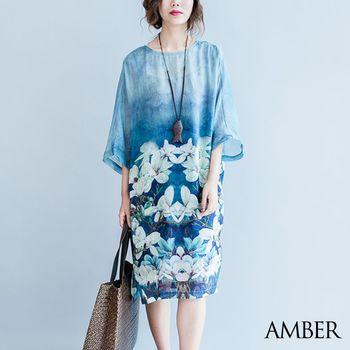 【Amber】韓版夏日夢幻感清涼漸層花漾長版洋裝