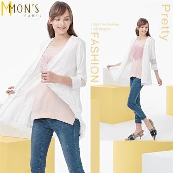 MONS 蕾絲拼接長版罩衫