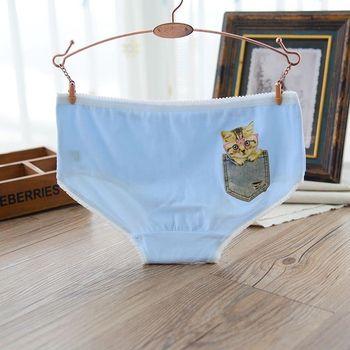 BoBo少女系 學生少女三角內褲 口袋貓3件入 天空藍L252