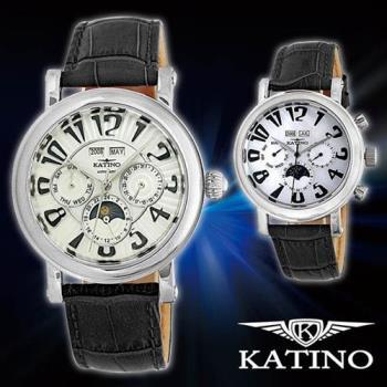 手錶/腕錶 KATINO 卡帝諾 多功能紳士機械腕錶 K007MB(貝殼面) / K009MB(放射線紋路)