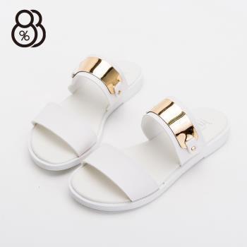 【88%】MIT台灣製韓版時尚金屬一字露趾拖鞋