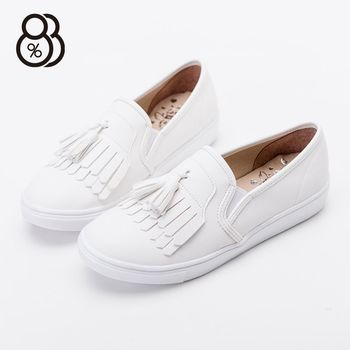 【88%】台灣製文青學院復古風蠟感流蘇PU皮面圓頭包鞋平底樂福鞋莫卡辛小白鞋