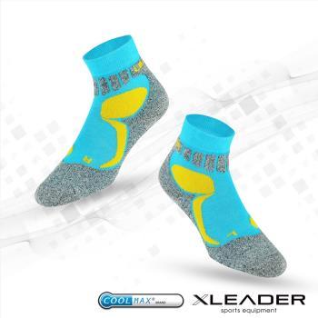 任-LEADER COOLMAX 排汗高筒/戶外健行/機能運動襪 藍色