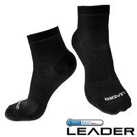 任-LEADER COOLMAX  薄型除臭機能襪 男款 黑色