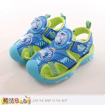 魔法Baby 男童鞋 POLI波力正版護趾閃燈運動涼鞋~sa71116