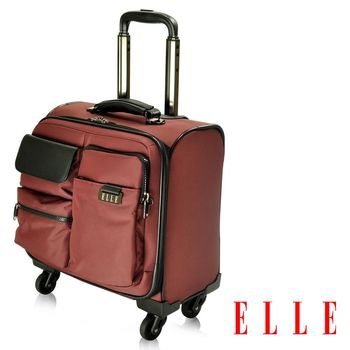 ELLE HOMME 火紅優雅搭配皮革13吋筆電 拉桿登機箱 -酒紅色
