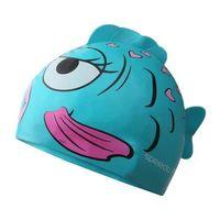 【SPEEDO】男女兒童矽膠泳帽-游泳 戲水 海邊 海灘 湖水綠粉紅