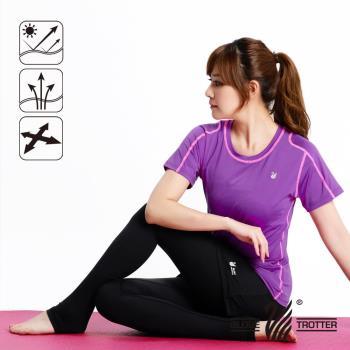 【遊遍天下】MIT女款抗UV吸濕排汗彈力圓領衫S152(紫色)