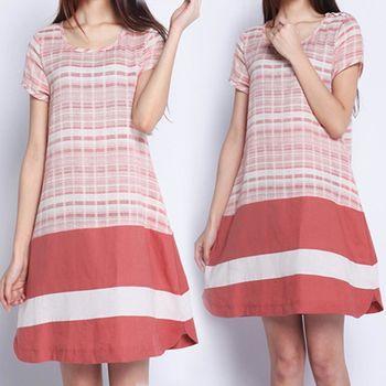 【韓國K.W.】文藝范寬鬆棉麻系洋裝