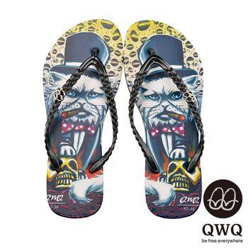 QWQ夾拖的創意(女) - 貓咪塗鴨 Cat Godfather夾腳拖鞋 - 黑心黑