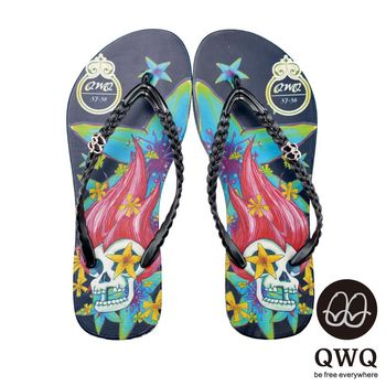 QWQ夾拖的創意(女) - 搖滾塗鴉 Fancy skeleton夾腳拖鞋 - 永生黑