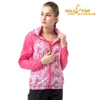 【hilltop山頂鳥】女款超輕量抗UV超潑水外套S02FB3熱粉紅白印花