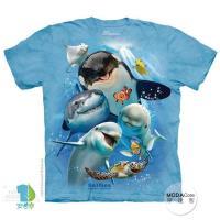 【摩達客】(預購)( 男童/女童裝)美國進口The Mountain 海洋動物哦耶 純棉環保短袖T恤