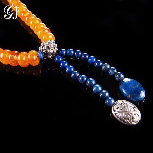 晉佳珠寶 Gemdealler Jewellery 閃亮天然蜜蠟 保身納福吉祥如意 蜜蠟 青金石 設計款手鍊 手珠