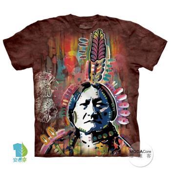 【摩達客】(預購)美國進口The Mountain 彩繪印地安 純棉環保短袖T恤