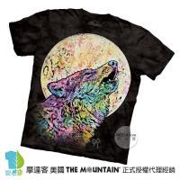 【摩達客】(預購)美國進口The Mountain 彩繪嚎狼 純棉環保短袖T恤
