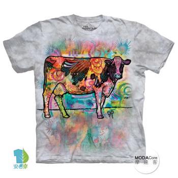 【摩達客】(預購)美國進口The Mountain 彩繪牛 純棉環保短袖T恤
