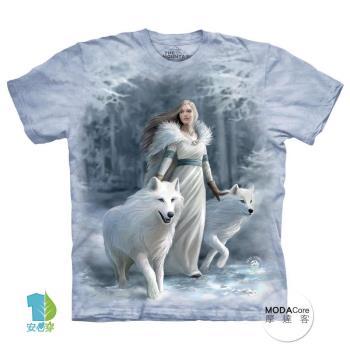 【摩達客】(預購)美國進口The Mountain 冬狼守護女神 純棉環保短袖T恤