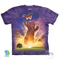 【摩達客】(預購)美國進口The Mountain 貓抓蝴蝶 純棉環保短袖T恤