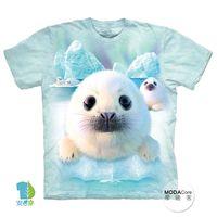 【摩達客】(預購)美國進口The Mountain 雪球小海豹 純棉環保短袖T恤