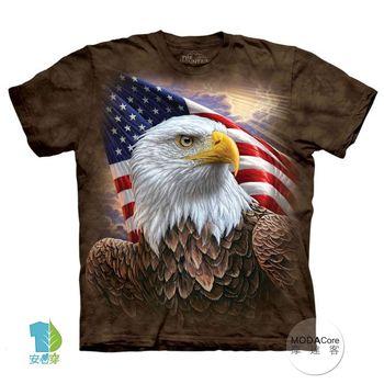 【摩達客】(預購)美國進口The Mountain 國旗獨立鷹 純棉環保短袖T恤