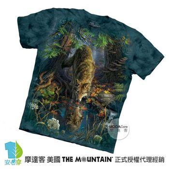 【摩達客】(預購)美國進口The Mountain 神秘森林狼 純棉環保短袖T恤