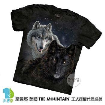 【摩達客】(預購)美國進口The Mountain 星光雙狼 純棉環保短袖T恤