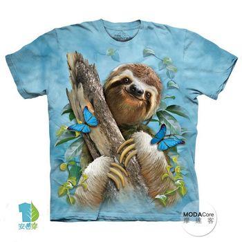 【摩達客】(預購)美國進口The Mountain 樹懶與蝴蝶 純棉環保短袖T恤