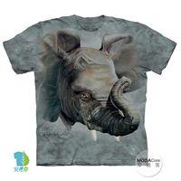 【摩達客】(預購)( 男童/女童裝)美國進口The Mountain 小象臉 純棉環保短袖T恤