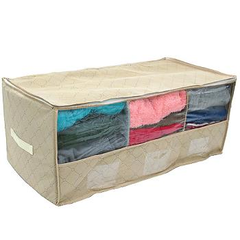 月陽60X38竹炭三格透明視窗衣物收納袋整理箱(80L)