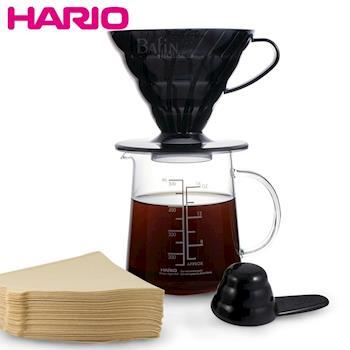 日本 HARIO 4人份 V60咖啡濾杯壺組500ml 附原廠濾紙100枚   ESD-02TB-EX-M