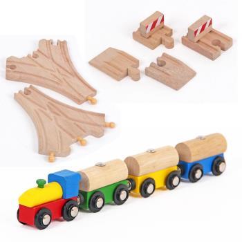 台灣【Mentari木頭玩具】奇妙森林軌道小火車+路障組x2+三叉軌道組x2 木頭火車軌道 火車軌道配件