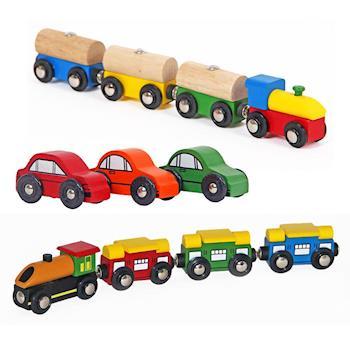 台灣【Mentari木頭玩具】城市小車車+奇妙森林軌道小火車+繽紛積木軌道小火車 木頭火車軌道 火車軌道配件