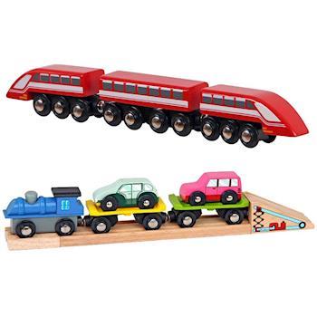 台灣【Mentari木頭玩具】歐洲之星列車+雙層運輸小車隊 木頭火車軌道 火車軌道配件