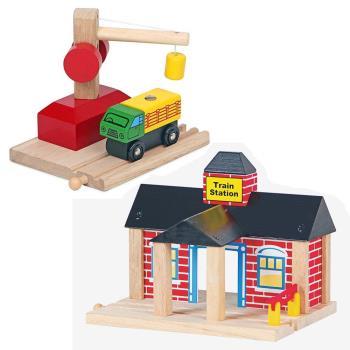 台灣【Mentari木頭玩具】火車轉運站+起重機 木頭火車軌道 火車軌道配件