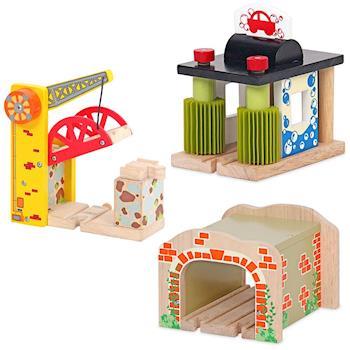 台灣【Mentari木頭玩具】隧道+洗車機+雙向吊橋 火車軌道配件 木頭火車軌道